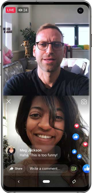Team up with guests on Facebook Live