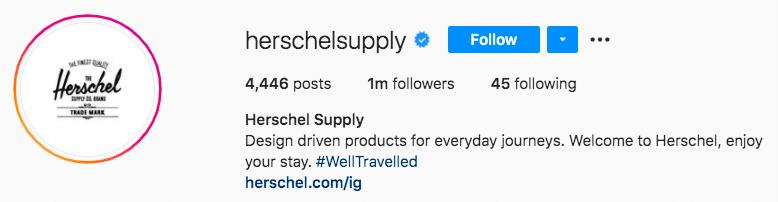 Herschel Supply branded hashtag