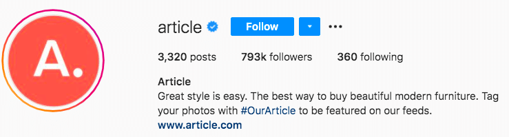 Article furniture branded hashtag