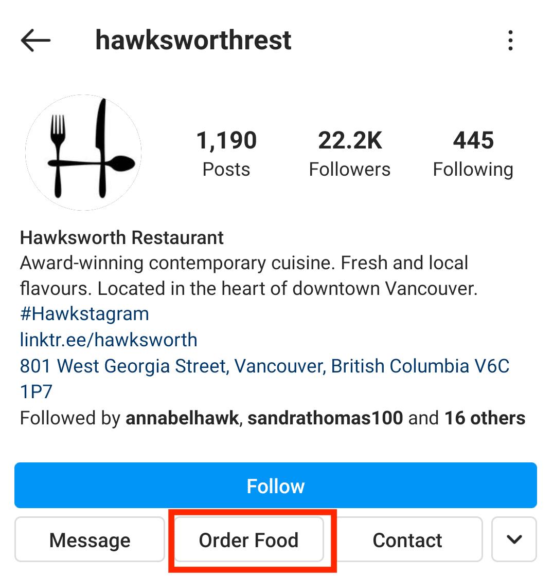 Hawksworth Restaurant Order Food button