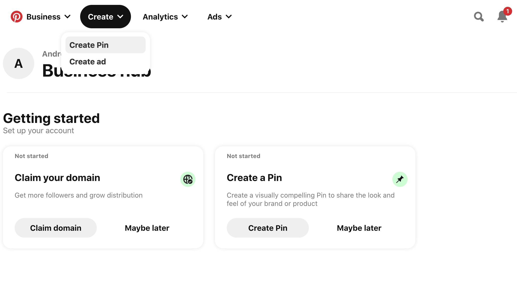 dropdown menu create pin