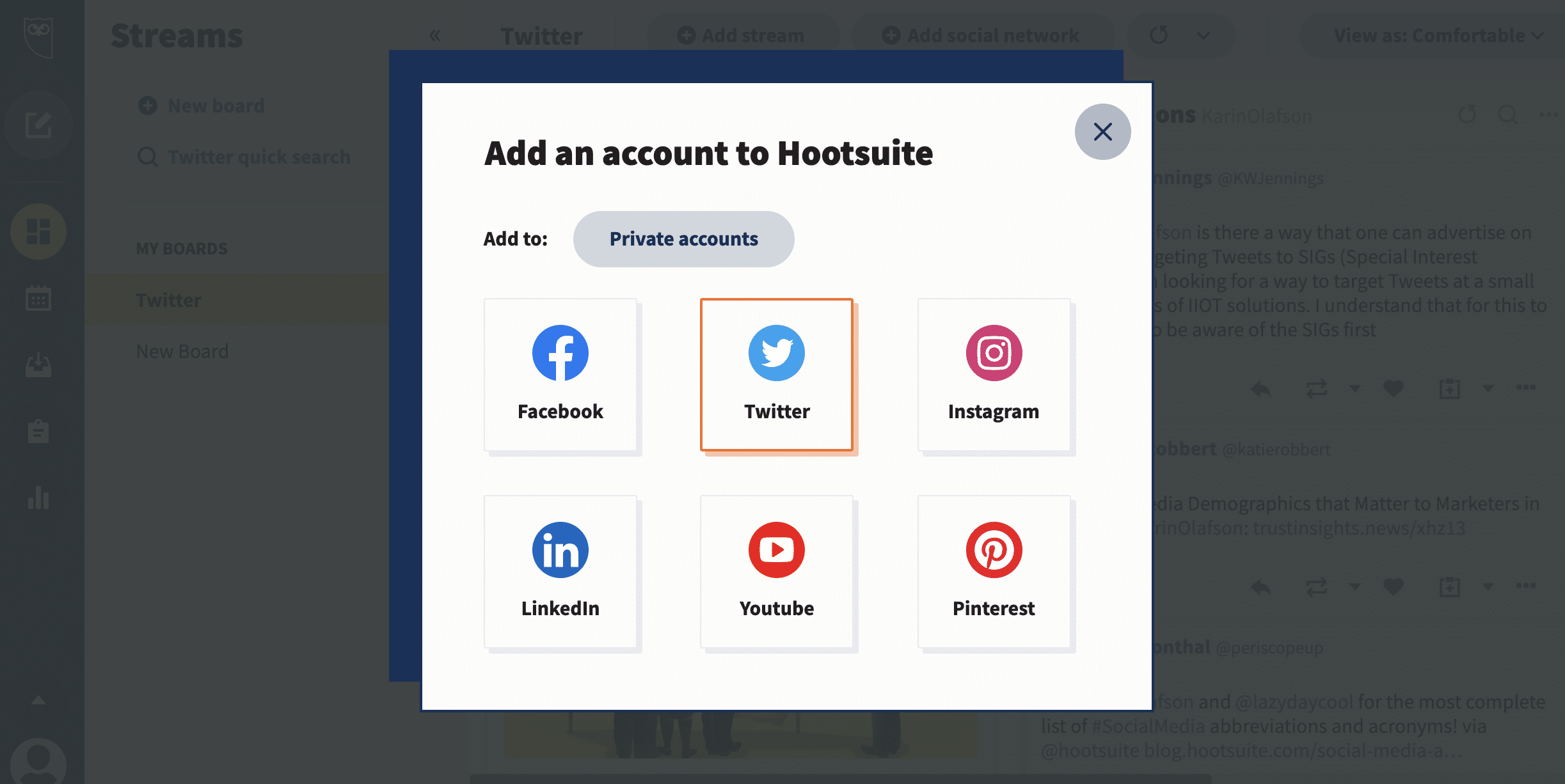 add Twitter account to Hootsuite