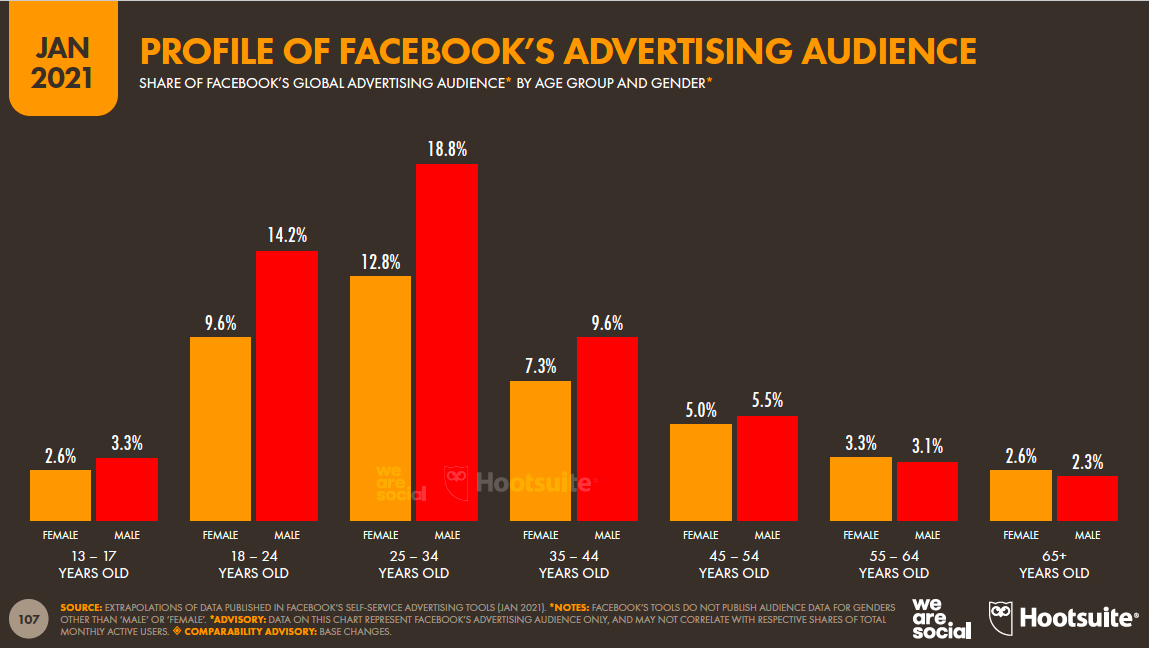profile of Facebook's advertising audience