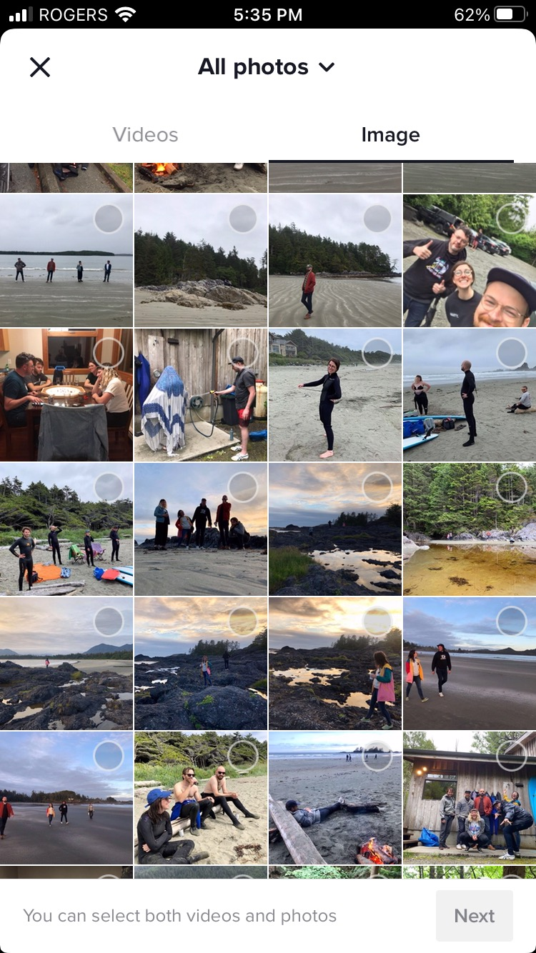 select photos from camera roll