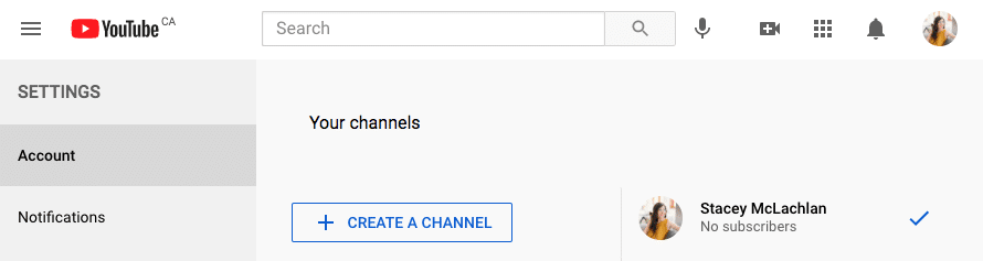 YouTube account page create a channel