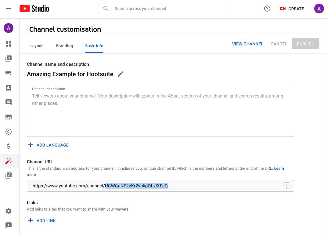 channel customization layout branding and basic info