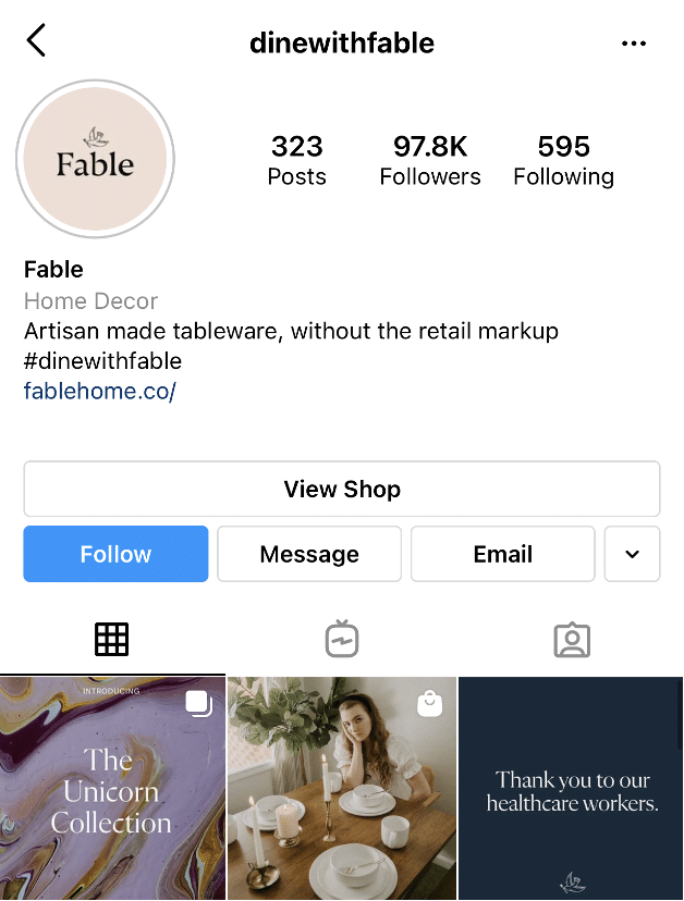 Fable Instagram hashtag dine with fable