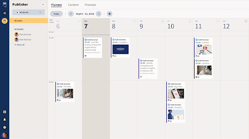 screenshot showing calendar view available to Amplify users