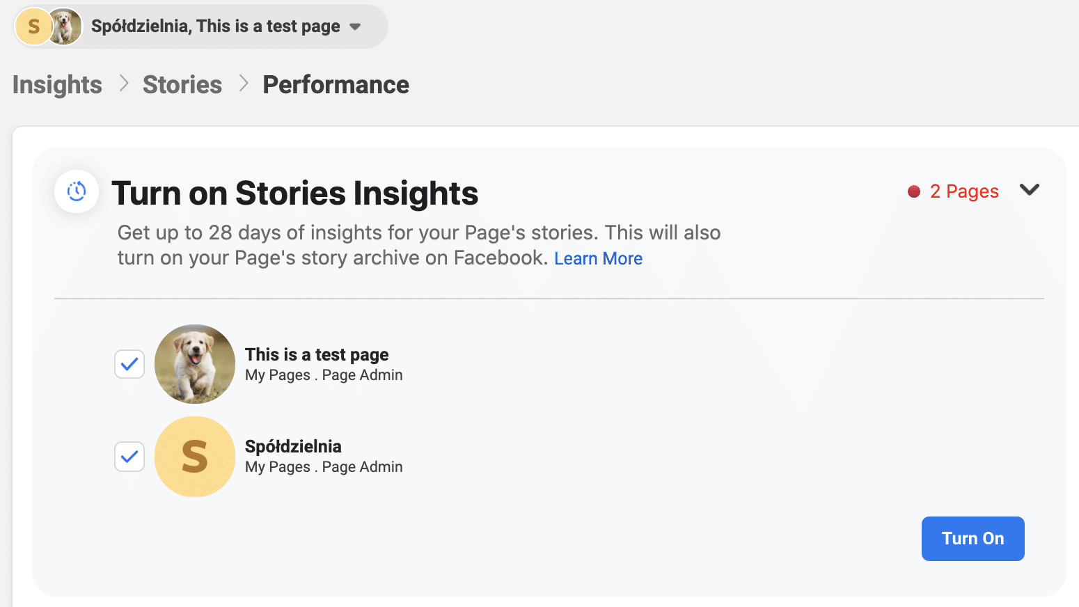 turn on stories insights