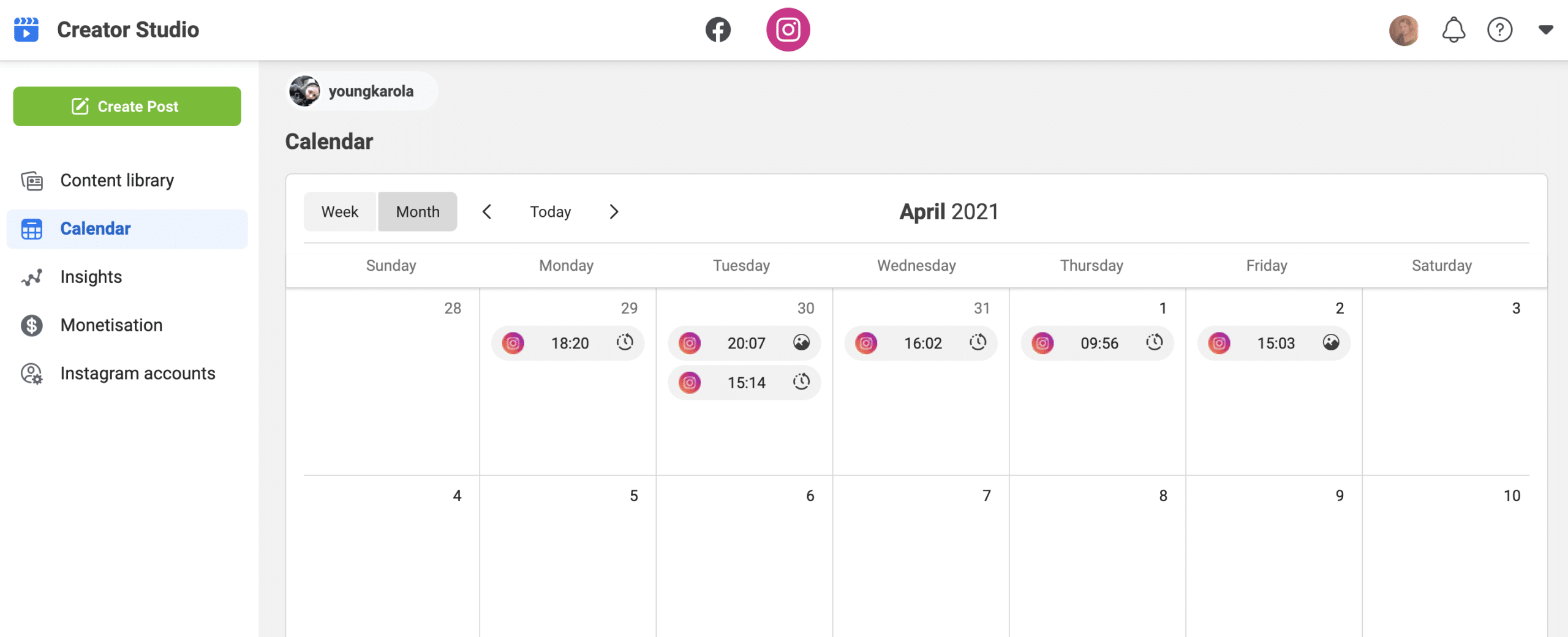 Instagram Creator Studio calendar
