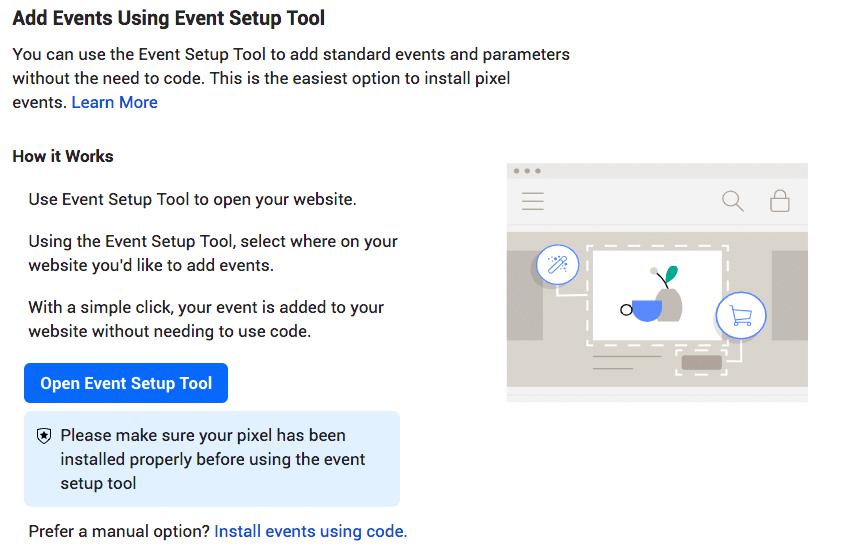 add events using event setup tool