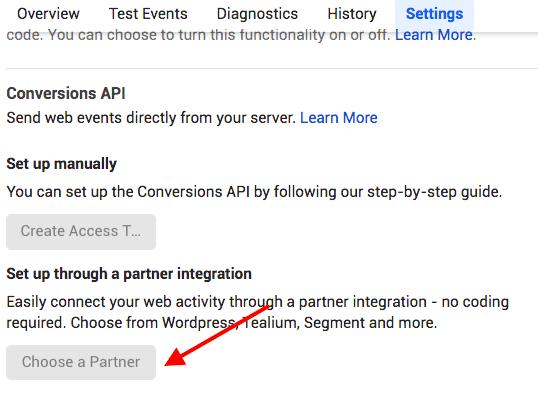 conversions API choose a partner