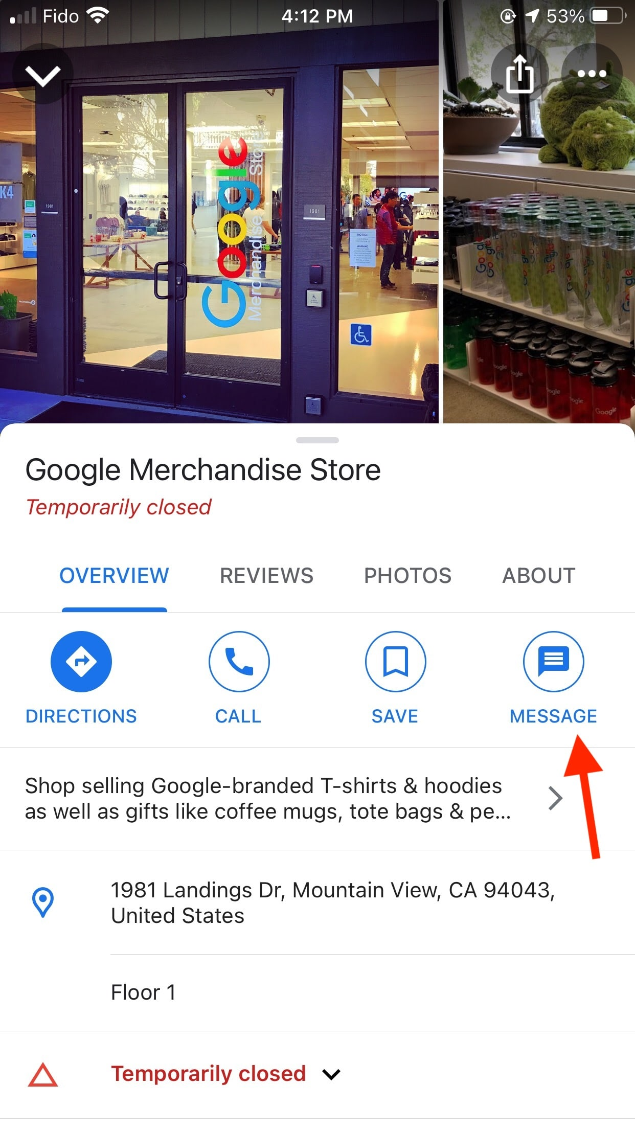 Google Merchandise Store message button