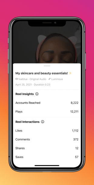 phone screen with individual instagram reel performance stats