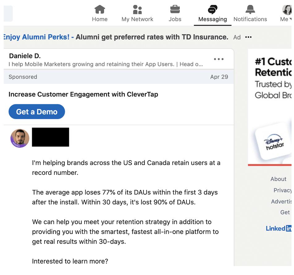 LinkedIn direct message CleverTap