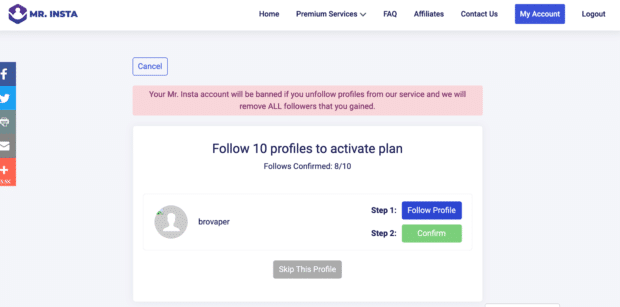 """Mr. Insta request to follow 10 profiles to activate your """"buy instagram followers"""" plan"""
