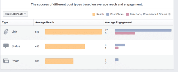 success of posts measured by reach and engagement