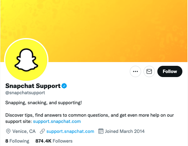 snapchat support Twitter account
