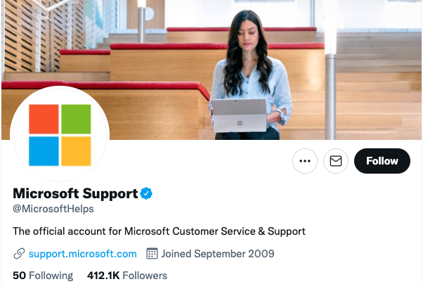 microsoft support Twitter account