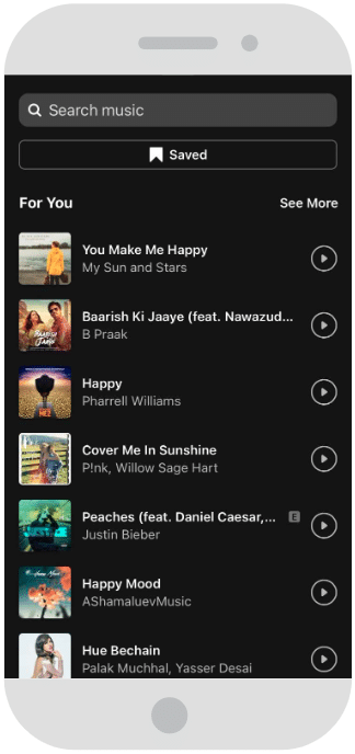 Selecting song from Instagram's music library