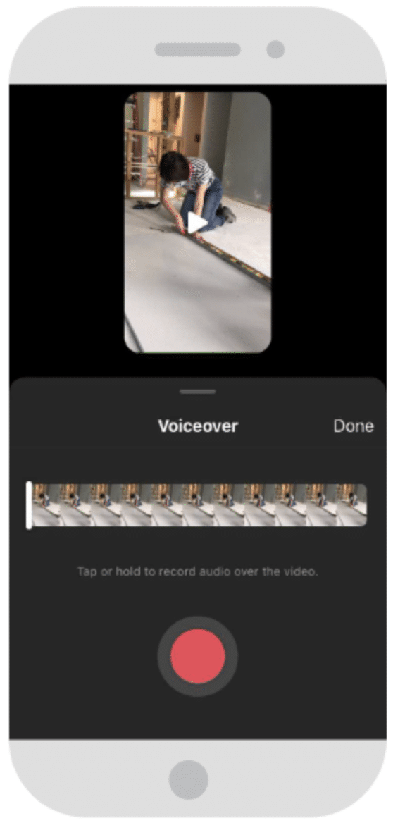 Aligning voiceover audio clip with video clip in Instagram Reels