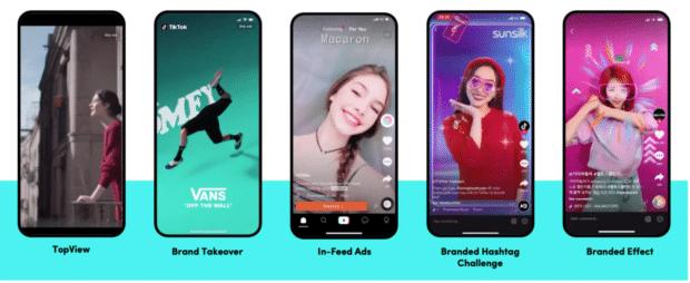 different ad options on TikTok