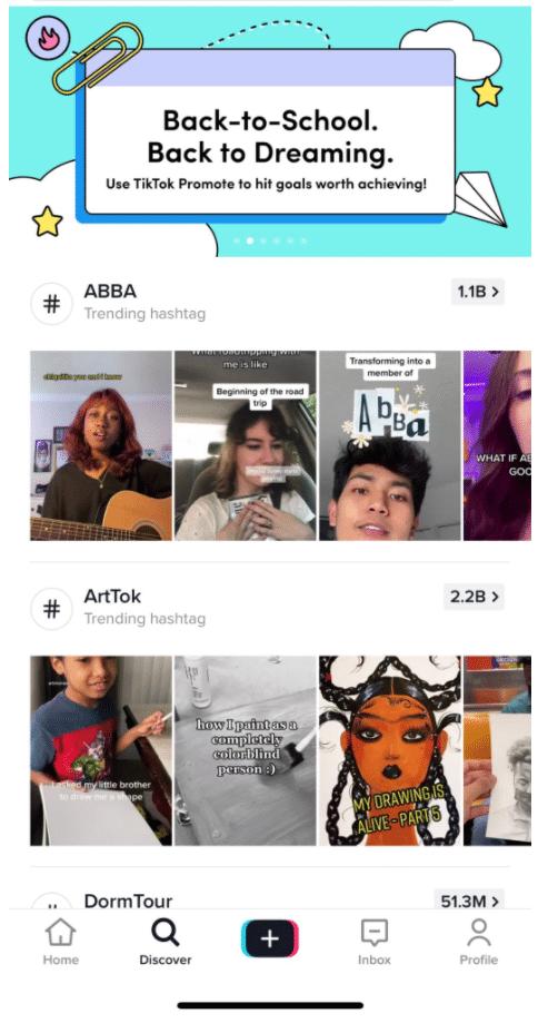 ABBA and ArtTok trending hashtags