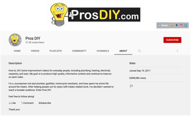 pros DIY channel description