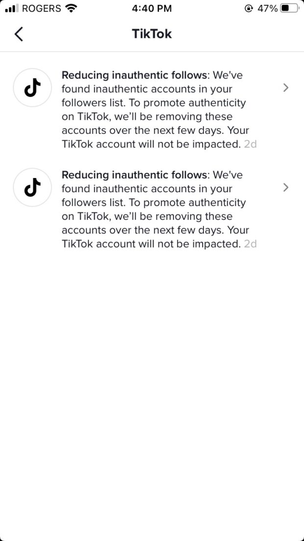 """two messages from TikTok to the author's TikTok account about """"reducing inauthentic follows"""""""