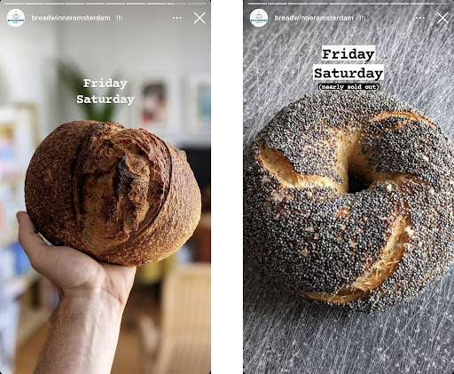 Instagram Story screenshots showcasing bakery's daily menu