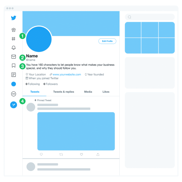 create a profile on Twitter with photo, display name, bio and pinned tweet