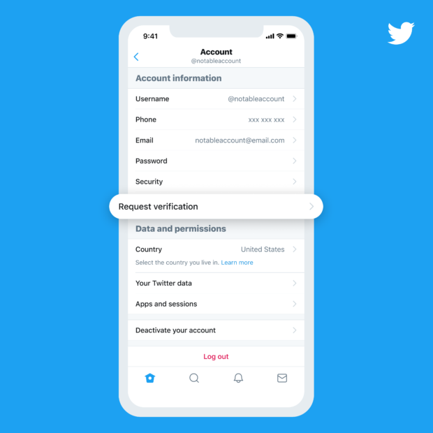 Request verification on Twitter account