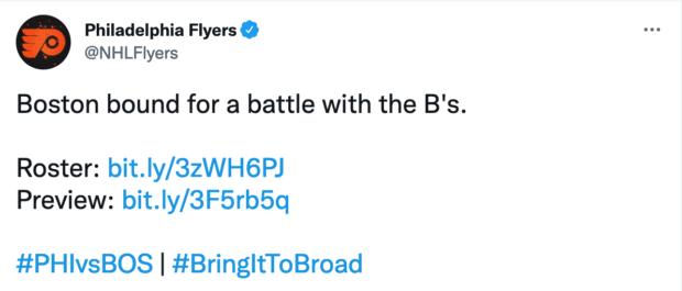 Philadelphia Flyers team account business tweets
