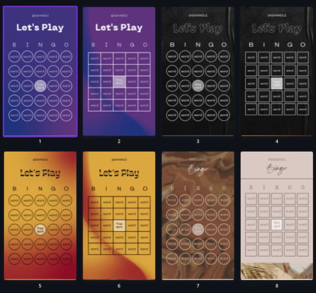 Instagram Story bingo templates