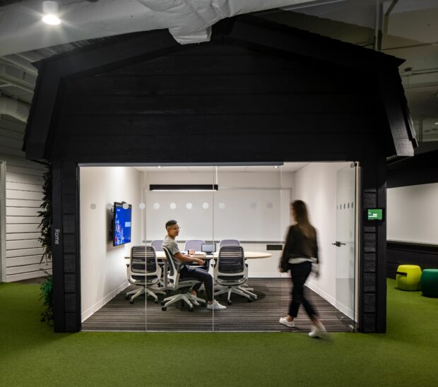 Ergonomic furniture in the Hootsuite Vancouver office